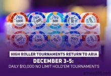 12月3日至5日ARIA将举办三场1万美元的豪客赛-蜗牛扑克官方-GG扑克