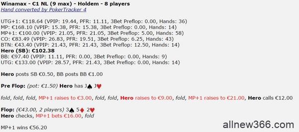 德州扑克JJ,翻前跟注4bet,翻牌圈面对下注怎么办?