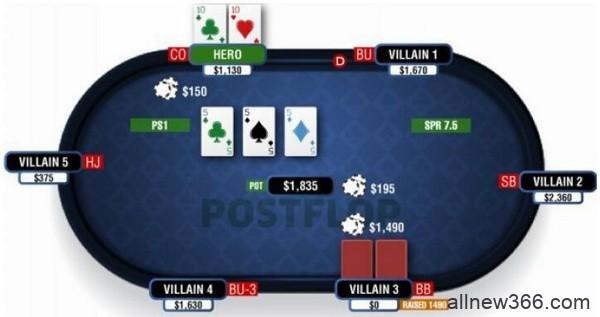 德州扑克由三条公共牌和口袋对子组成的葫芦